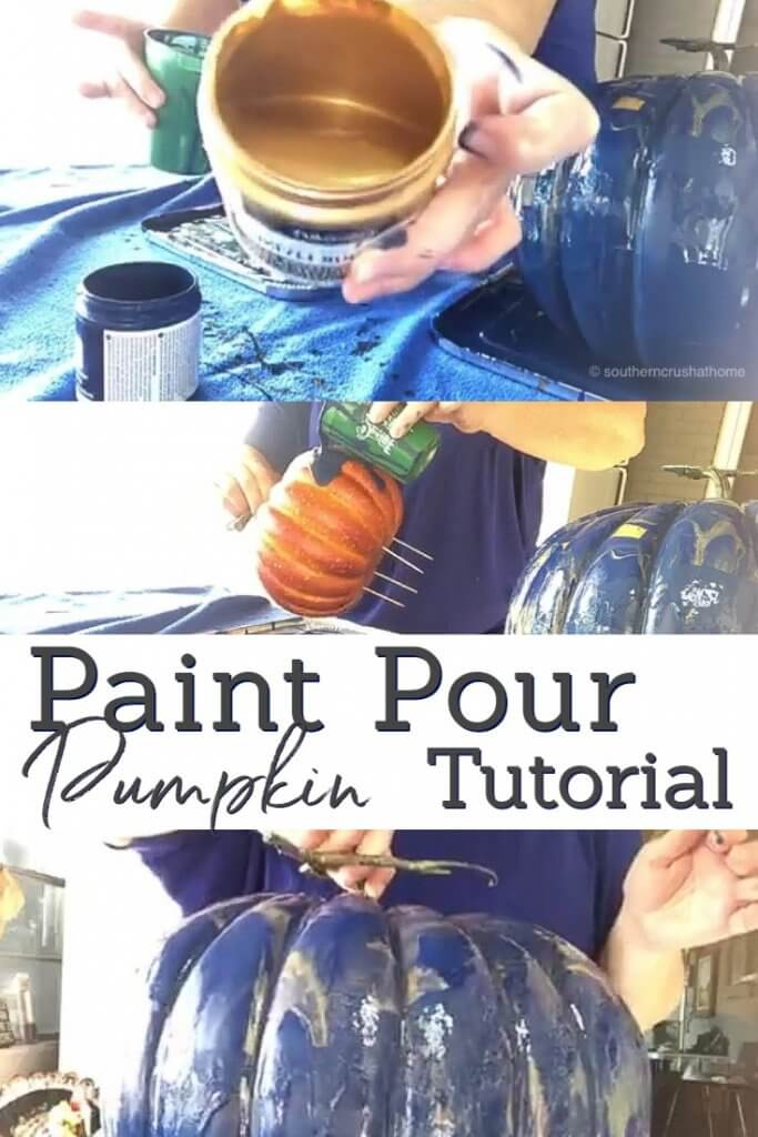 Paint Pour Pumpkin Tutorial - easy pumpkin painting technique