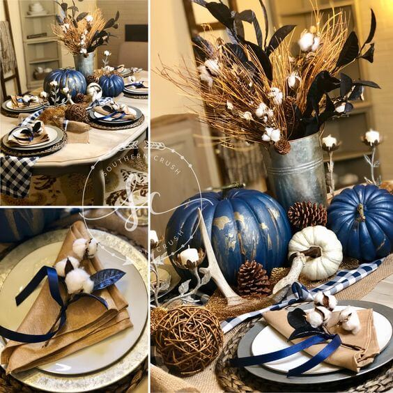 Unconventionally Classic Navy and Gold Marbleized Pumpkins