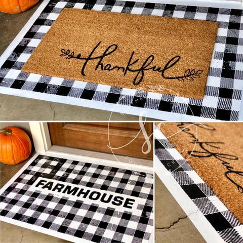 DIY Painted Buffalo Check Doormat