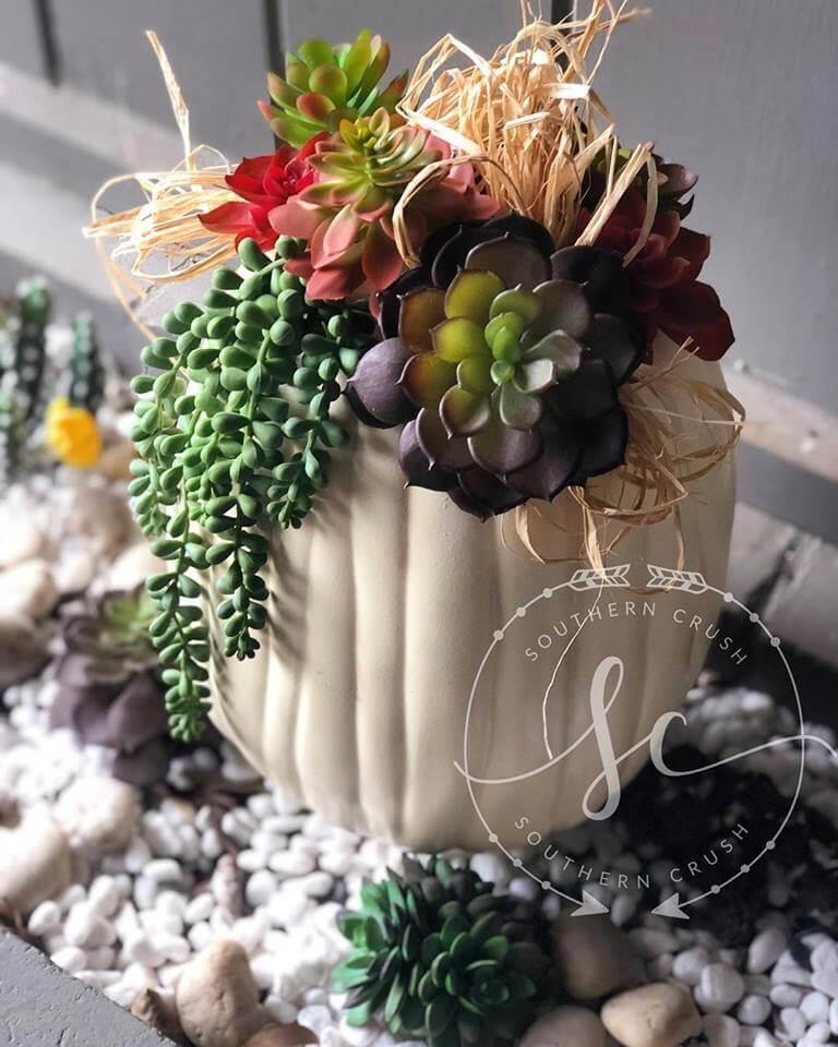 Faux Pumpkins With Succulents