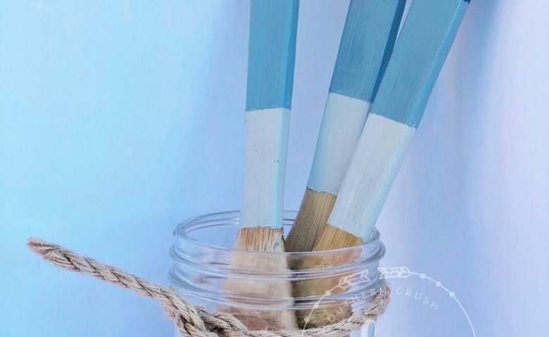 diy ombre blue painted utensils