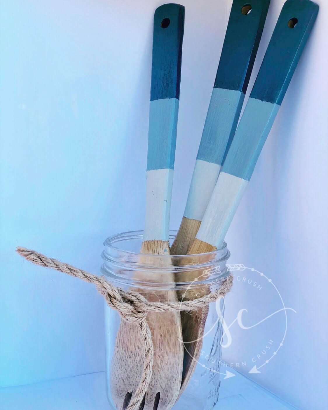 Ombré Blues DIY Painted Utensils