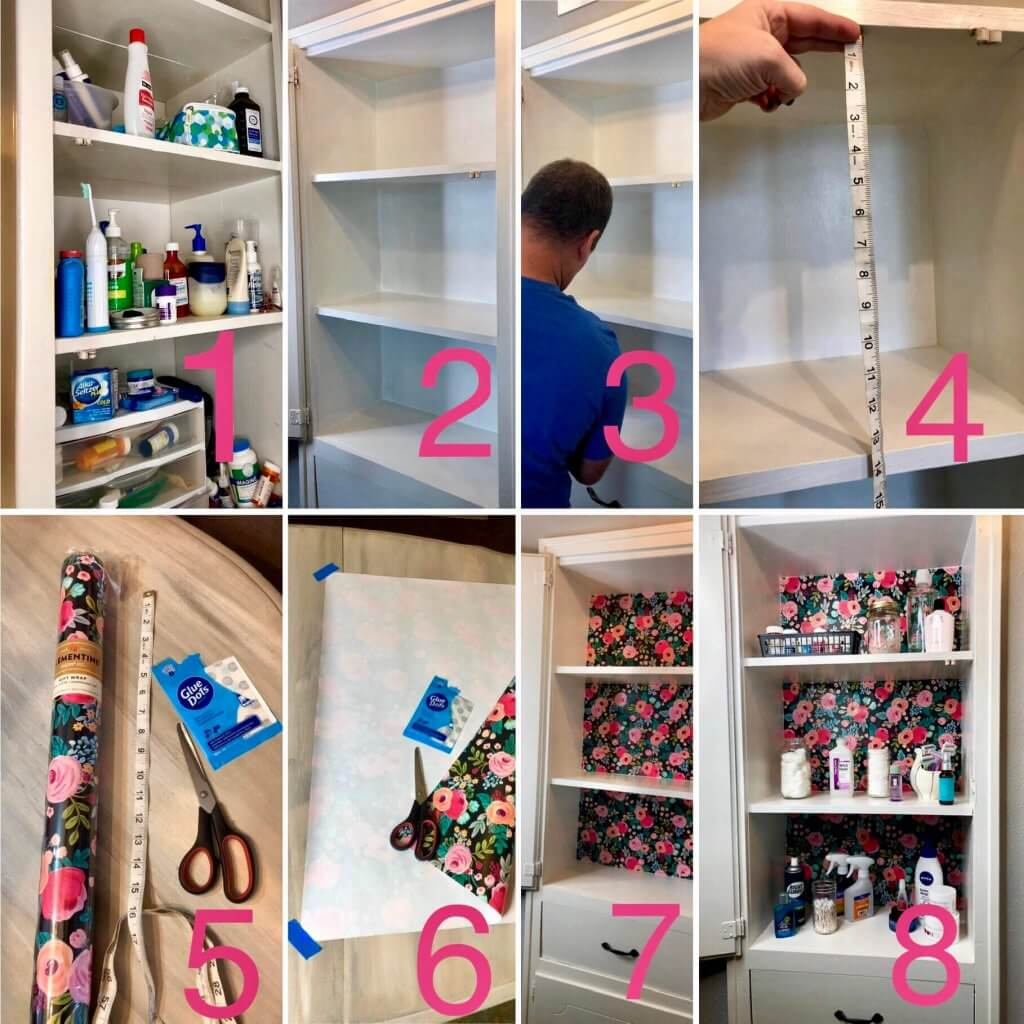 decluttering medicine cabinet with gift wrapping paper