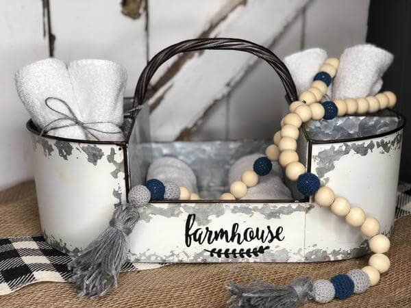 rustic farmhouse crochet wooden bead tassel