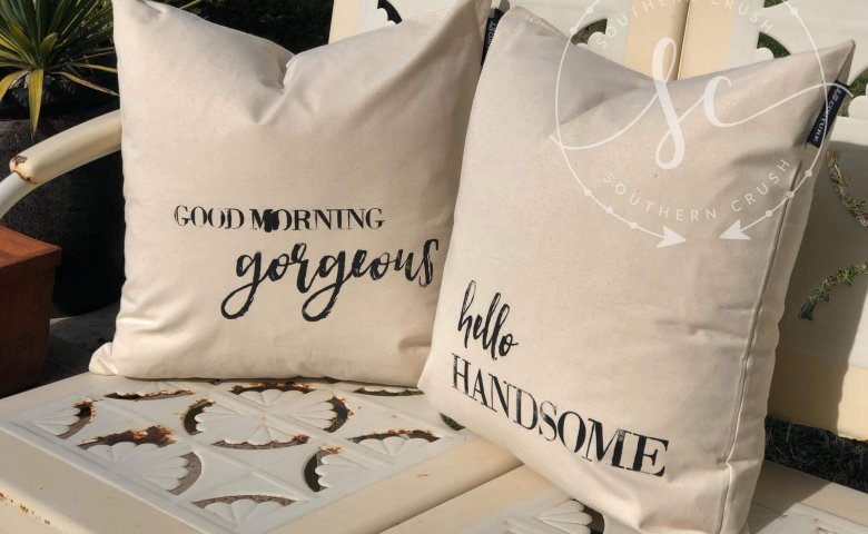 vintage look porch pillows trash to treasure reloved transfer paint good morning gorgeous hello handsome