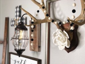Buffalo Check Farmhouse Styled Gallery Wall preview antlers