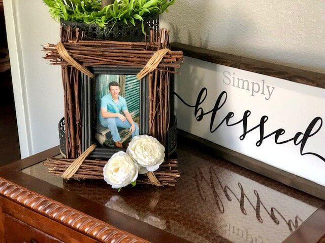 DIY Photo Frame with Sticks and Jute Floral Accent