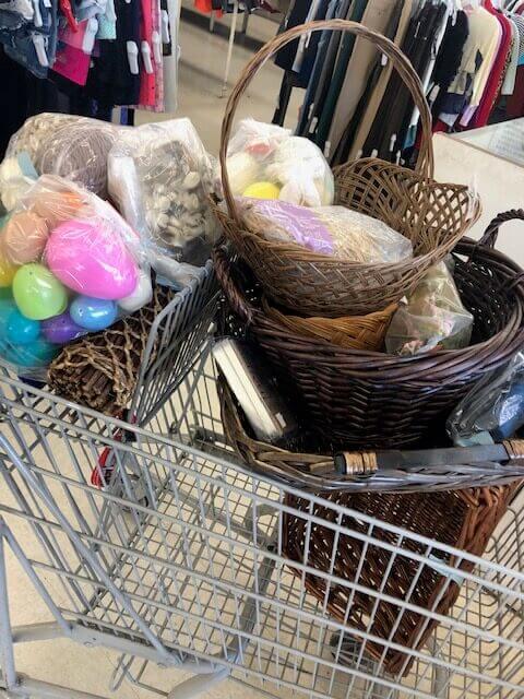 vintage easter bunny basket giveaway thrift store finds cart