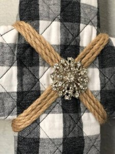 upcycled rustic buffalo check cross with bling