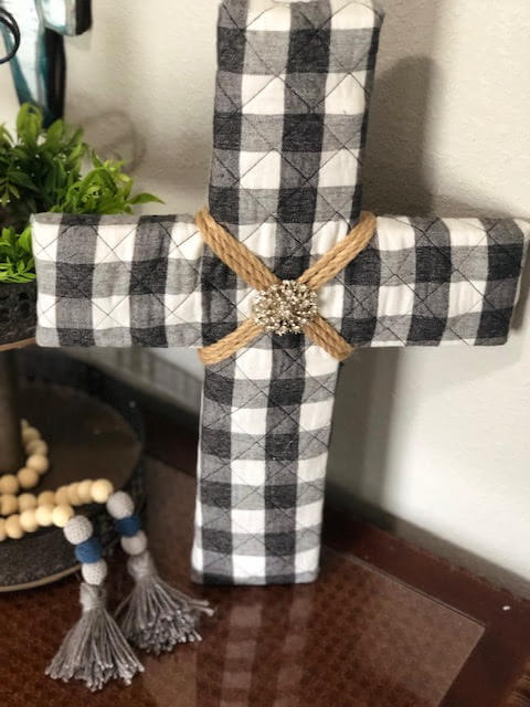 Upcycled Buffalo Check Cross Wall Decor