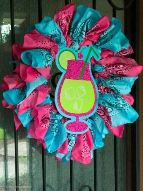 Easy Dollar Tree Front Door Bandana Wreath