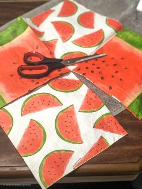 diy-watermelon-coasters-napkins