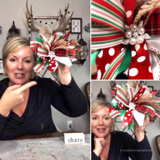 Woman making a Christmas messy bow