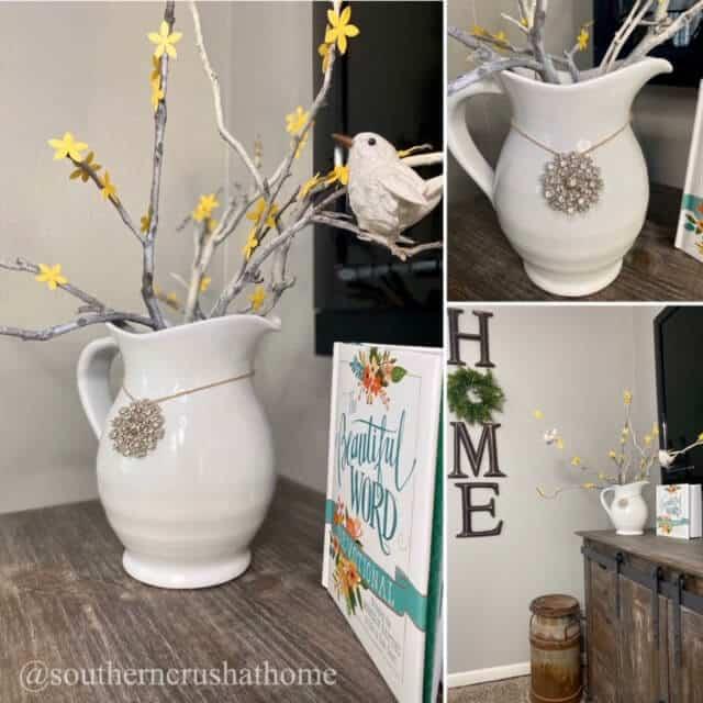 DIY Floral Pitcher Makeover Forsythia Branch Display