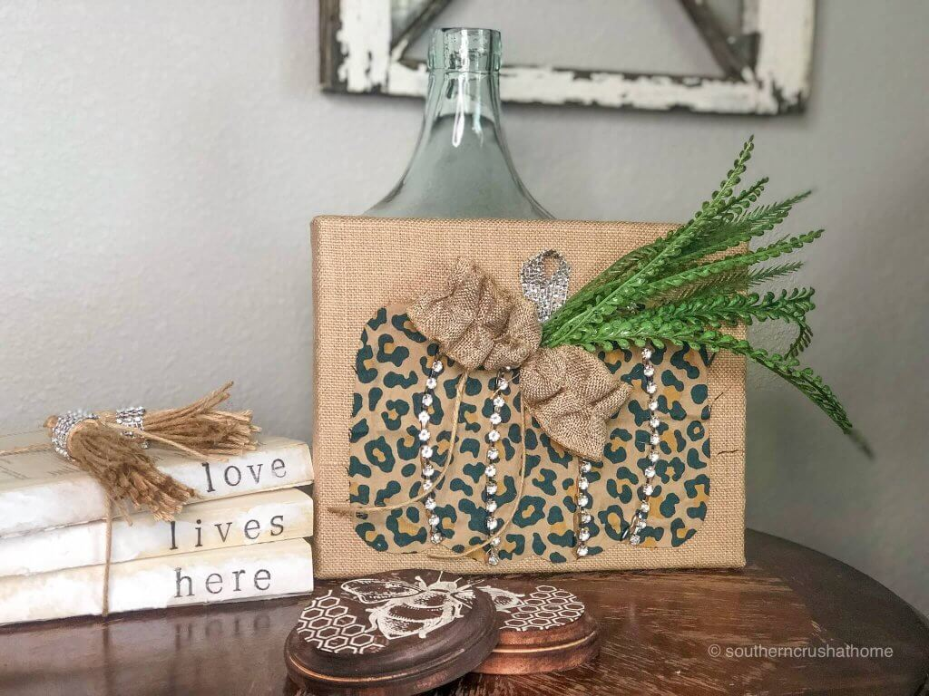 Leopard Pumpkin made with burlap and canvas