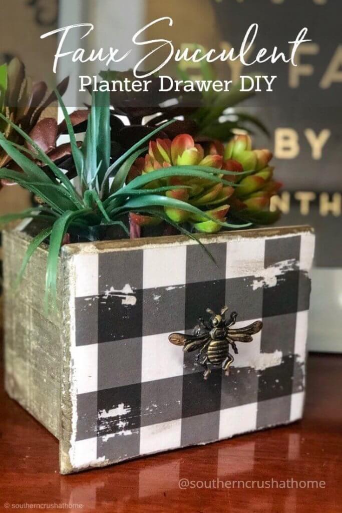 Faux Succulent Planter Drawer DIY-pin