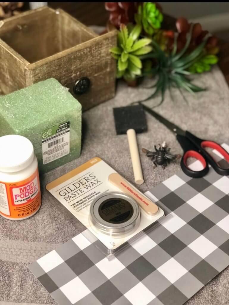 buffalo-check-wooden-drawer-faux-planter-diy-supplies