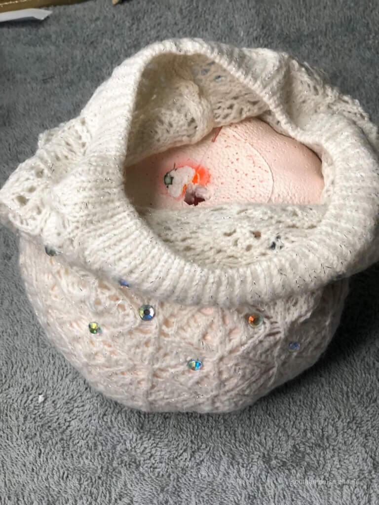 Foam pumpkin in a beanie or winter hat
