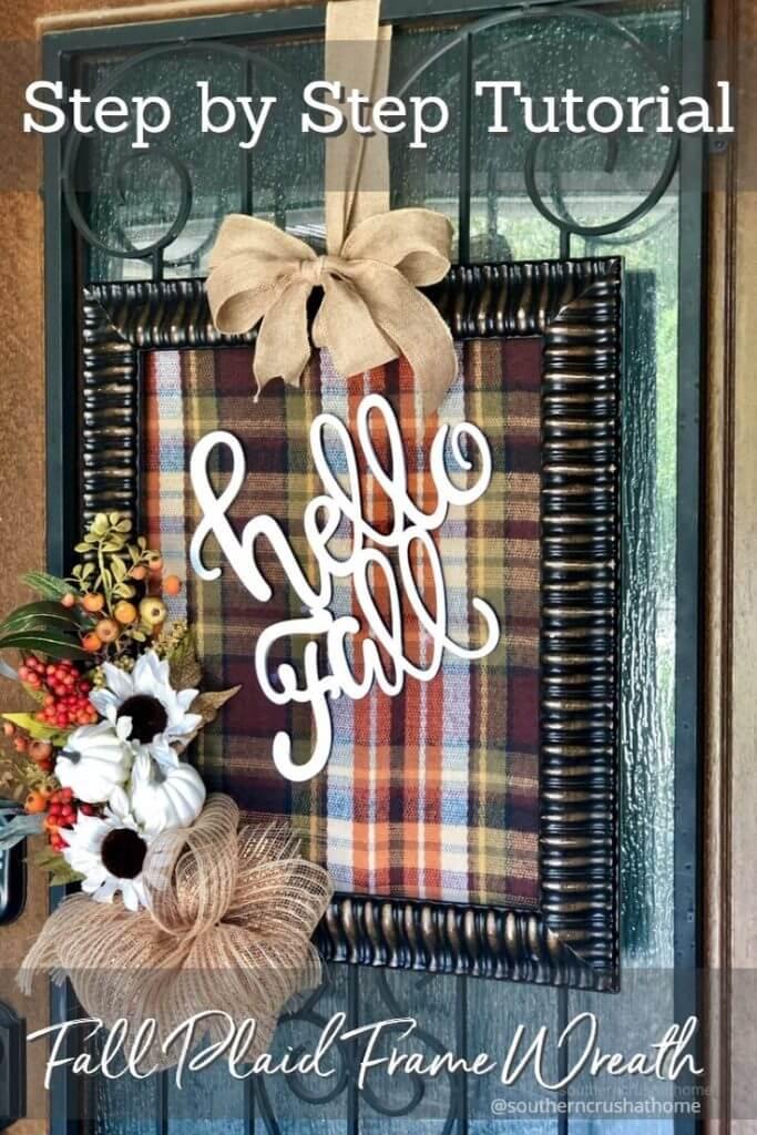 Fall Plaid Frame Wreath Pin
