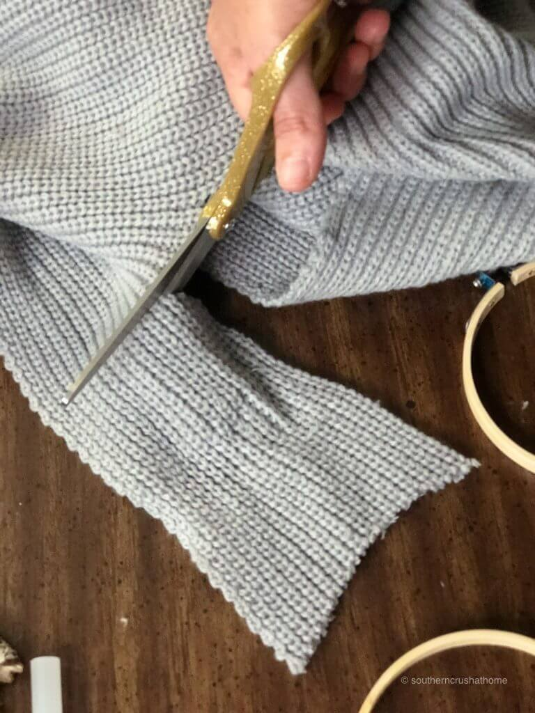 Cutting an old sweater