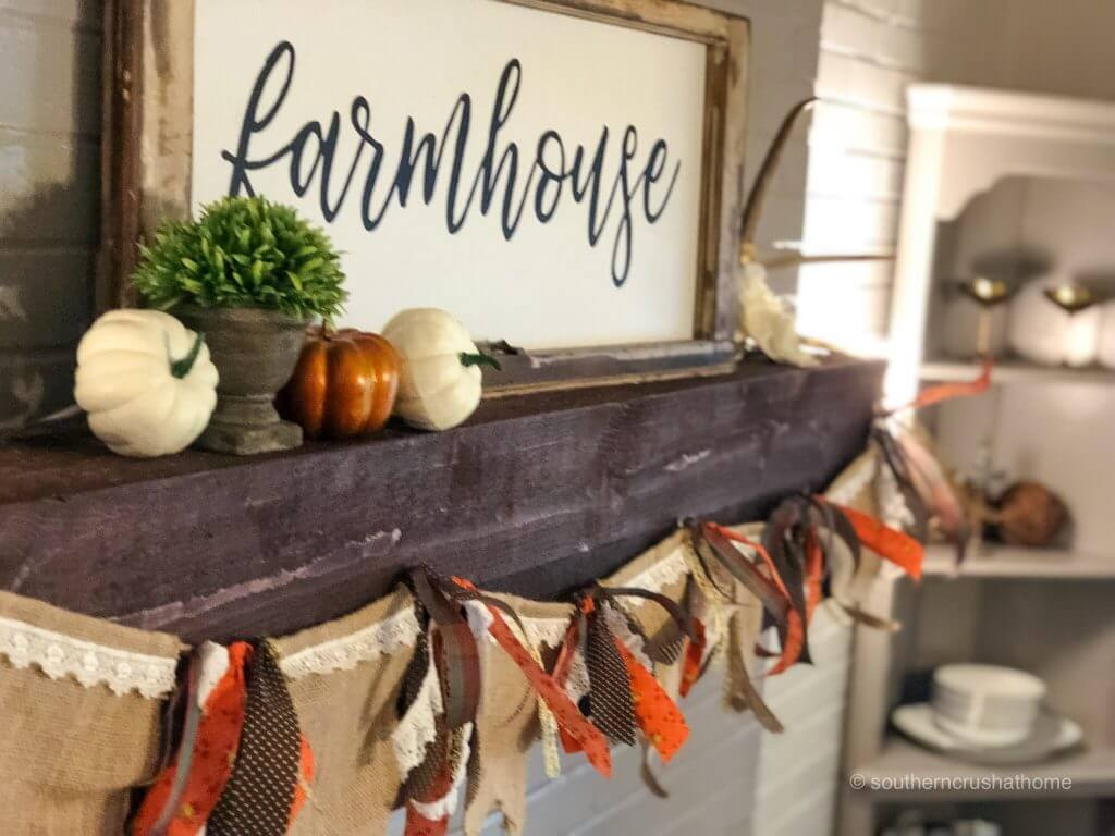 fall banner idea farmhouse mantle