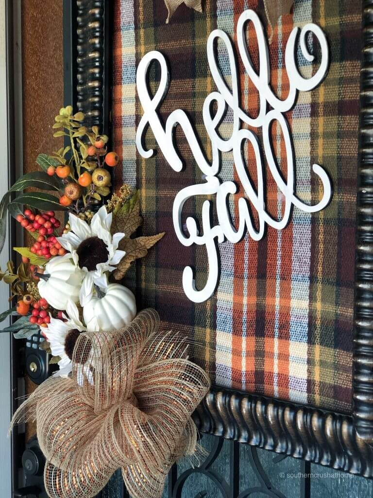 Fall Plaid Picture Frame Wreath Close Up