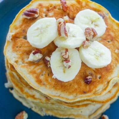 Banana Pecan Pancakes final overhead