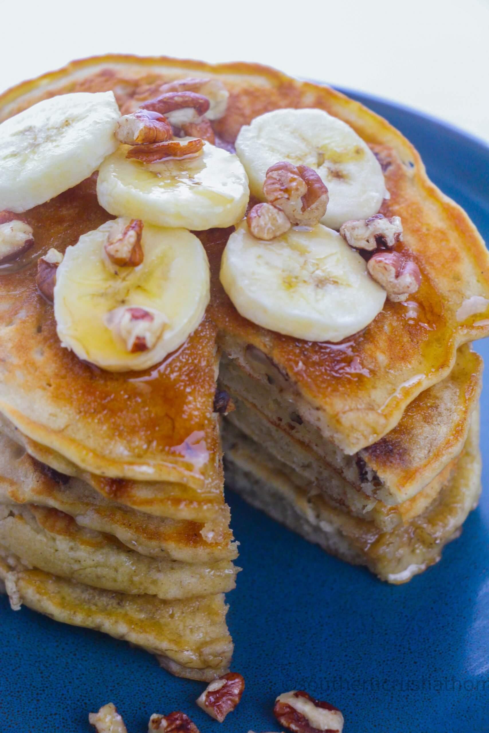 Banana Pecan Pancakes bite