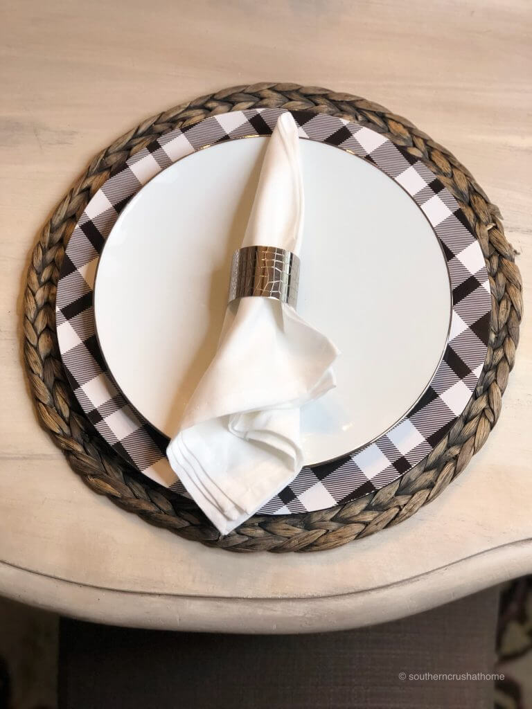 A napkin on a white plate