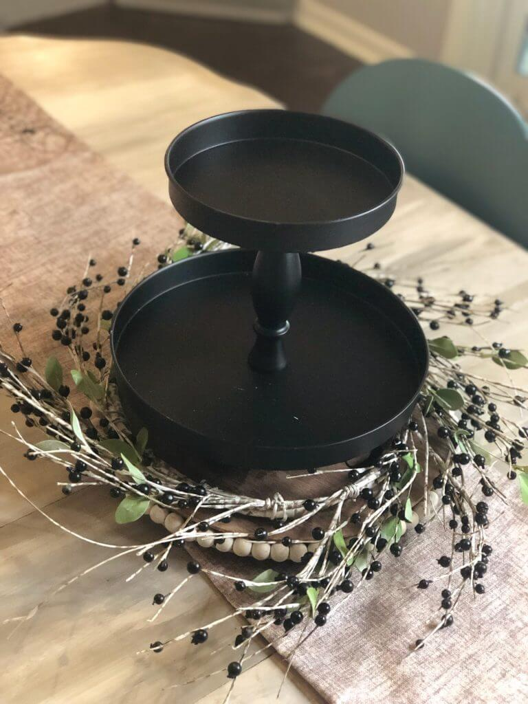 A black tiered tray
