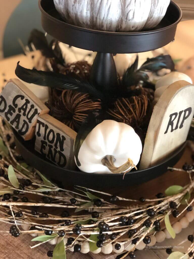 Halloween wooden blocks on a centerpiece