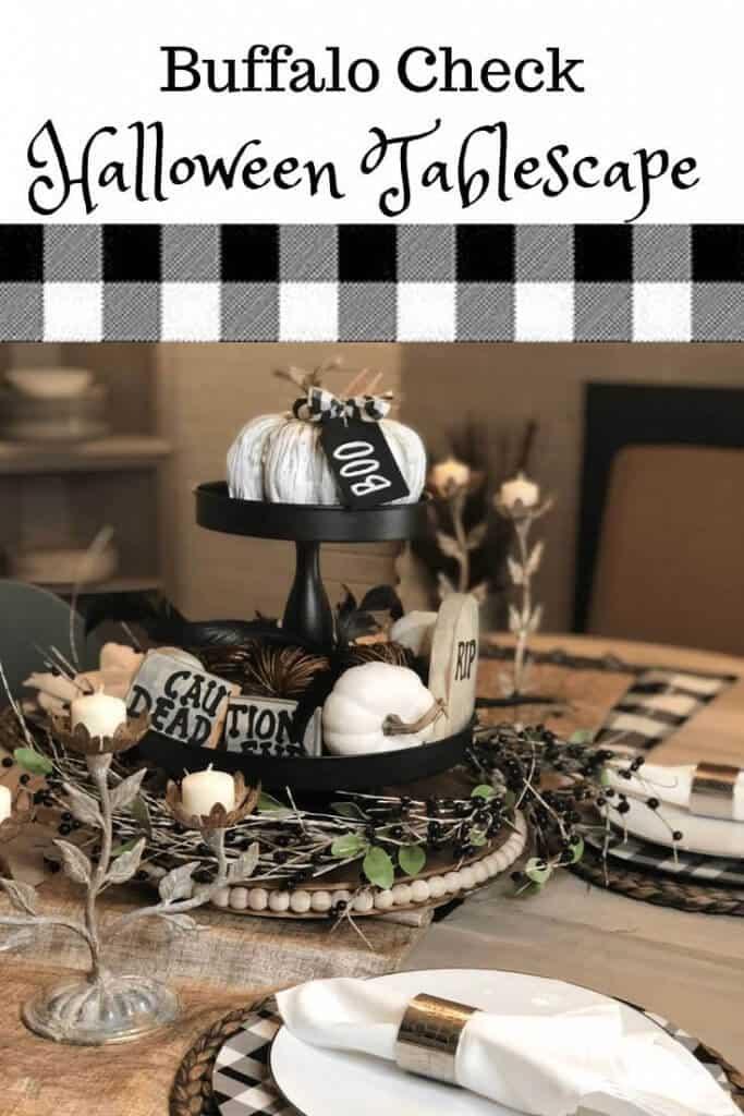 Buffalo Check Halloween Tablescape