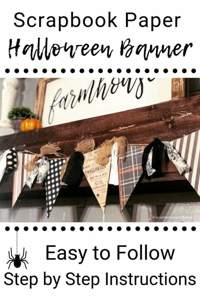 Scrapbook paper Halloween Banner Easy to Follow Step By Step Directions