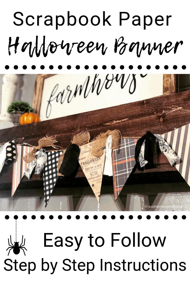 DIY Halloween Banner With Scrapbook Paper