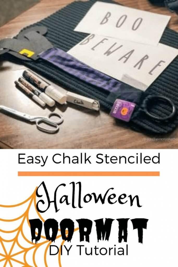 Easy Chalk Stenciled Halloween Doormat DIY Tutorial