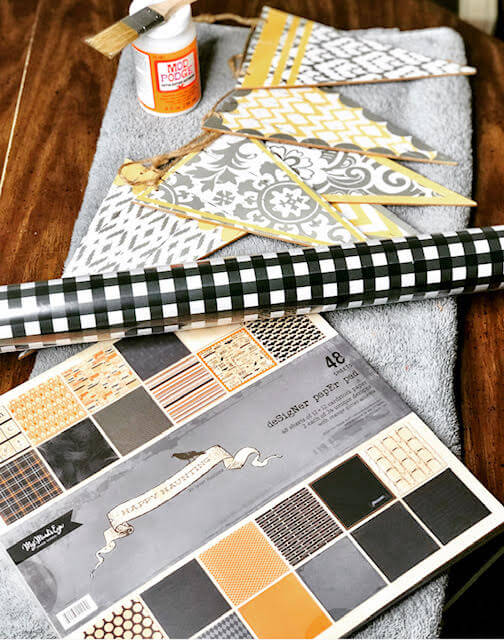 Supplies for a DIY Halloween banner
