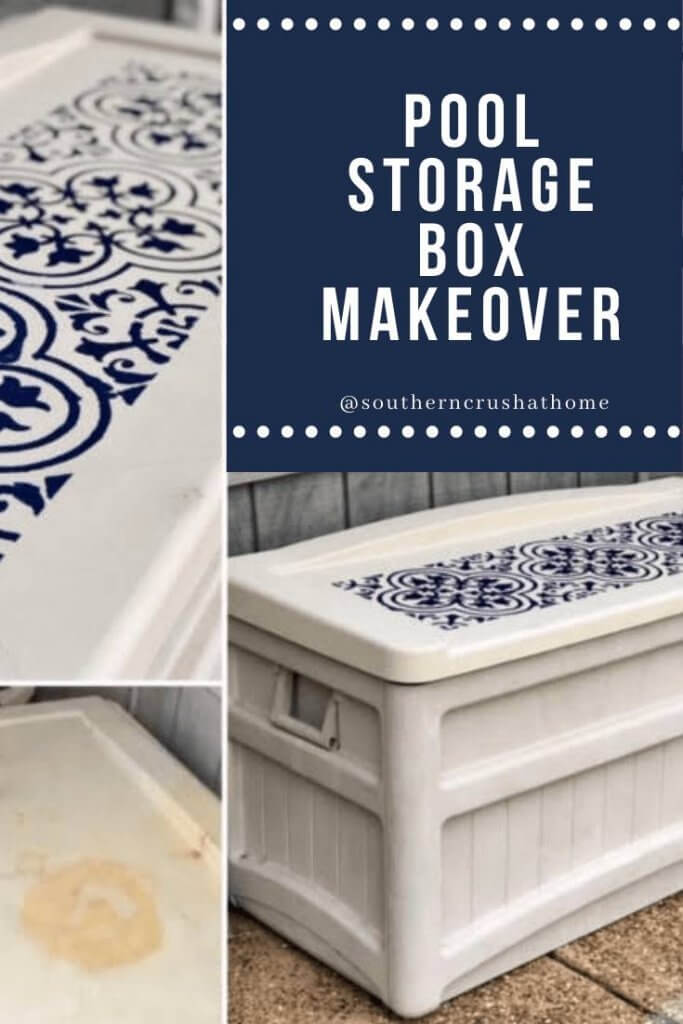 Pool storage box makeover pin