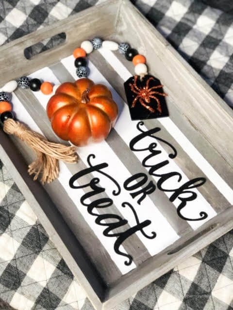 diy-halloween-tray-decor-farmhouse style trick or treat tassel striped tray