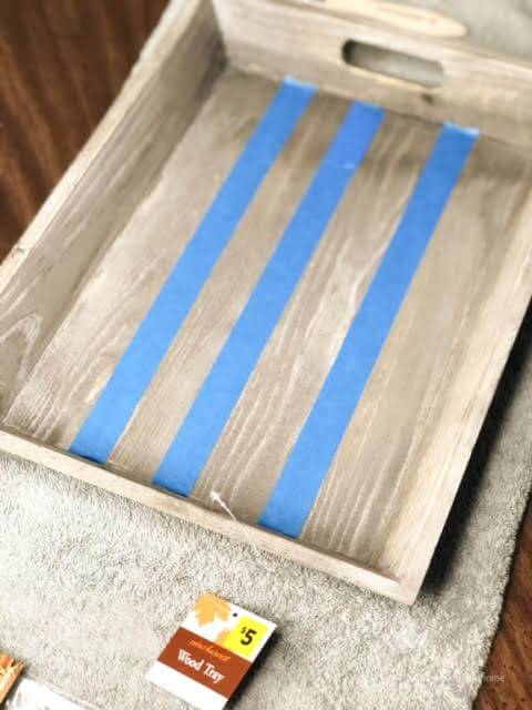 Blue Painter's Tape On a Wooden Tray