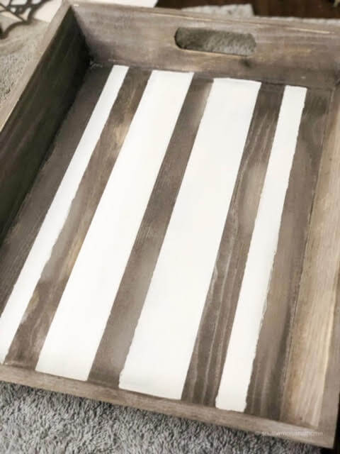 White lines on a wooden tray