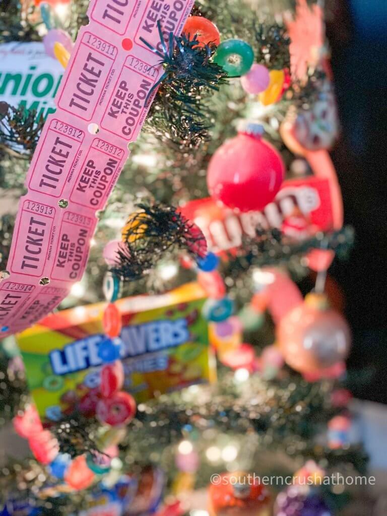 movie-theater-theme-christmas-tree movie tickets garland