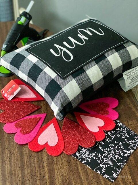dollar tree diy valentines pillow supplies