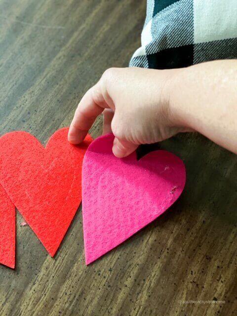 separating felt hearts from dollar tree