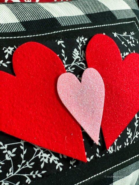 valentines pillow felt hearts close up