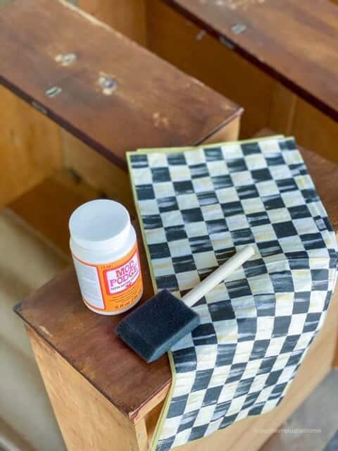 back-porch-dresser-makeover-decoupage