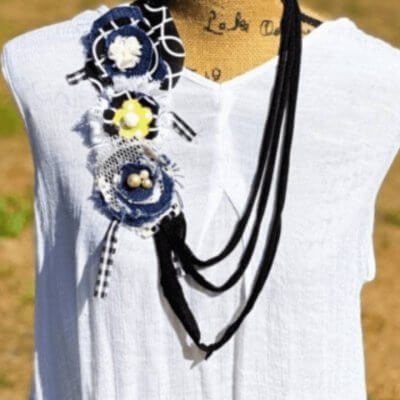 DIY T-Shirt Necklace with Fabric Flowers