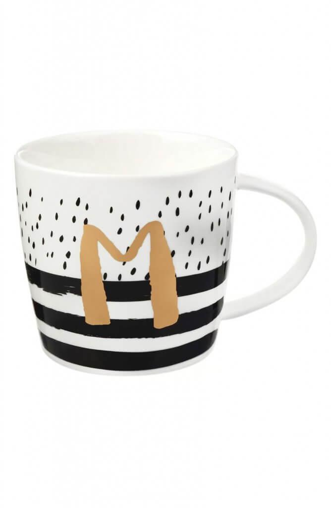 ceramic mug design with metallic initial