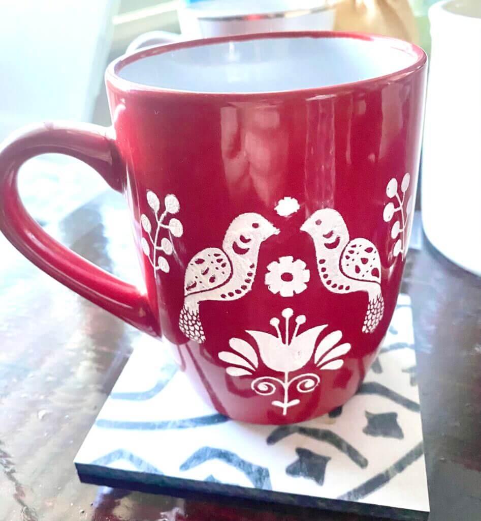 ceramic valentines stenciled mug