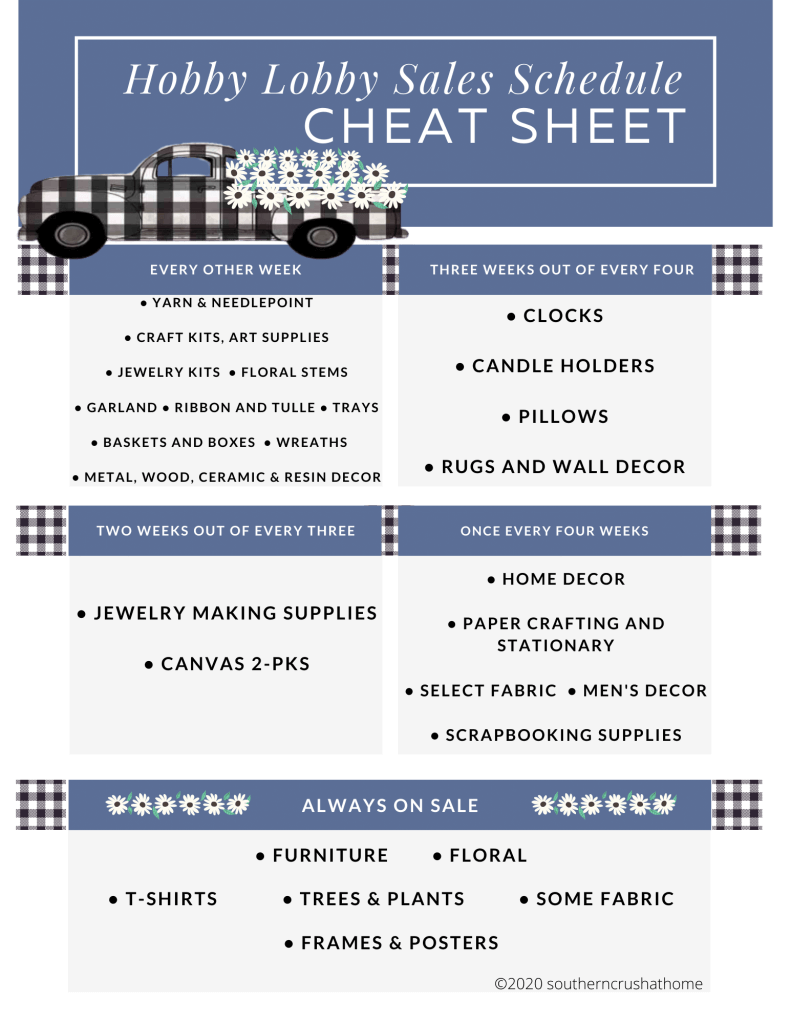HL Sales Schedule Cheatsheet