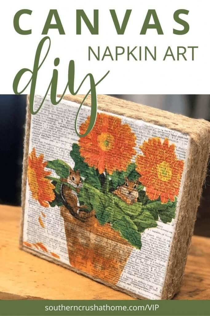 Napkin Art Canvas complete pin